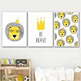 agwKE2 Lion Be Brave Wall Art Print Canvas Painting Nordic Waterproof Posters and Prints Cute Animal Wall For Living Room 40x60cmx3 unframed
