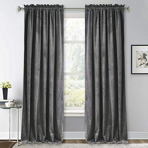 RYB HOME Velvet Curtains 96 inches - Soft Blackout Curtains for Living Room, Energy Saving Window Drapes Darkening Panels for Bedroom Studio Library, 52 x 96 inches Long, Grey, 1 Pair