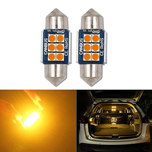 HSUN Lot de 2 ampoules LED 31 mm 12 V-14 V DE3175 3175 6428 6430 DE3021 DE3022 DE3023 Canbus sans erreur avec puce 6 LED SMD3030 pour intérieur de voiture et plus encore, Ambre/Oange, lot de 2