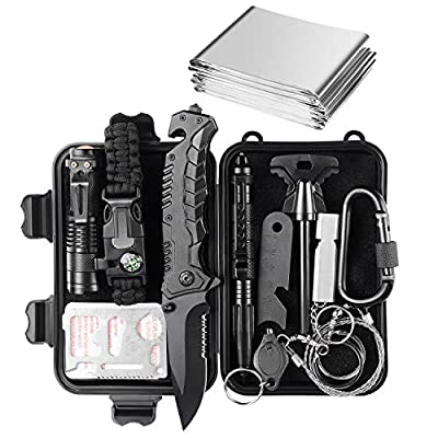 Jinager Survival Gear Kits Outdoor Survival Gear Tool for Trip,with Fire Starter, Whistle, Wood Cutter, Tactical Pen for Camping, Hiking, Climbing for Wilderness/Trip/Cars/Hiking/Camping by Jinager