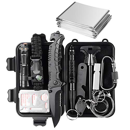 Jinager Survival Gear Kits Outdoor Survival Gear Tool for Trip,with...