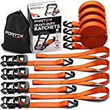 FORTEM Ratchet Tie Down Straps, Heavy Duty, 4X 15ft Securing Straps, 4X Soft Loops 4500lb Break Strength, Rubber Coated Metal Handles, Metal Hooks, Carrying Case