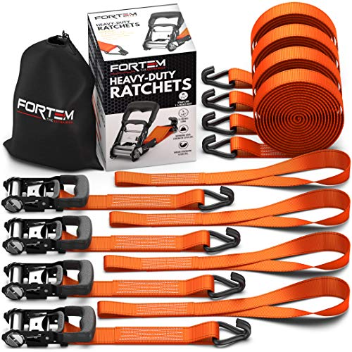 Fortem Ratchet Tie Down Straps, 4X 15ft Securing Straps, 4X Soft Loops 4500lb Break Strength, Rubber Coated Metal Handles, Plastic Coated Metal Hooks, Carrying Case (4-Pack)