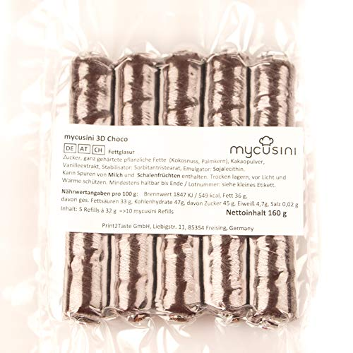 mycusini 3D Choco Dark für den 3D Lebensmitteldrucker mycusini, personalisierte Schokolade, Schoko-Ornamente, Schoko-Geschenke, personalisierte Praline, individuelle Schokoschrift, Tortendeko