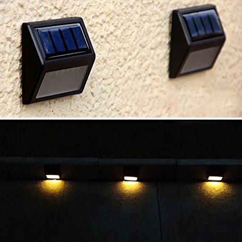 5151BuyWorld Ip55 führte Solarleuchten Wandleuchte Wasserdichte Garten-Licht im Freien Landschaft Rasen 6 Zaun Lampen [White, 0-5W]