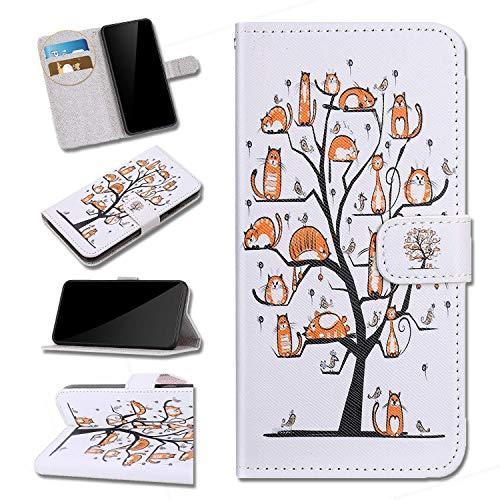 PU Leder Schutzhülle Kompatibel mit iPhone 11 Karikatur Brieftasche Handyhülle Kratzbaum,Urhause PU Ledertasche mit Kartenfach, Extra Dünn,Bumper Flip Hülle für iPhone 11