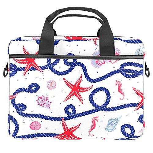 Laptop Shoulder Bag 15 Inch Briefcase Document Messenger Bag Business Handbag with Handle & Shoulder Strap Starfish Hemp Rope Shells