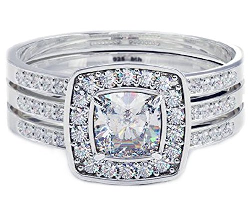 BestToHave Cushion Cut CZ Halo Design 3 Piece Genuine 925 Sterling Silver Luxury Unique Affordable Wedding Engagement Bridal Ring Set Band - Size O - Comes with Luxury Gift Box.