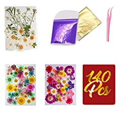 Nature Material❀Real dried flowers, different colorful flowers shaped perfect, Less-Fragile Set❀Comes with 120 pieces of real dried pressed flowers and leaves in different styles.10 pieces of Gold Foil and 10 pieces of Purple Foil, The thin gold leaf...