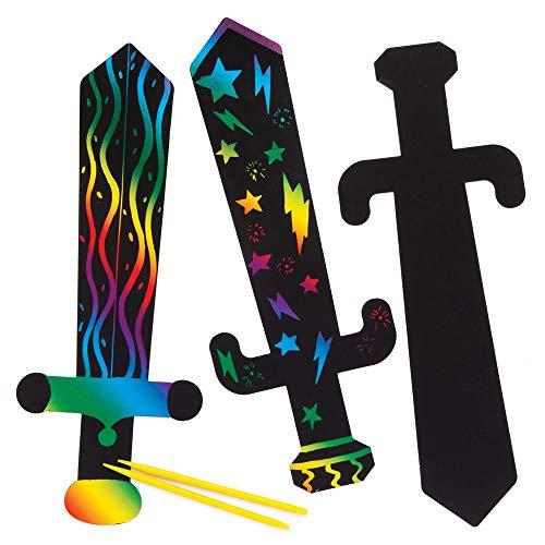 Baker Ross Kratzbilder ?Schwerter? (6 Stück) – mit Regenbogenpapier und Kratzwerkzeug für Kinder zum Basteln und Dekorieren