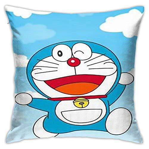 Smiling Doraemon Cotton Pillow Throw Cushion Cover Case Home Decoration Fundas para Almohada 26x26Inch(65cmx65cm)