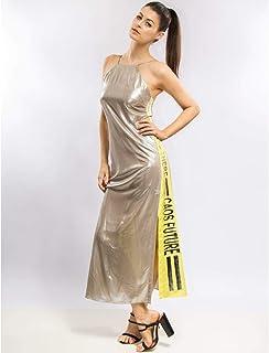Vestido Longo Metalizado E Silk
