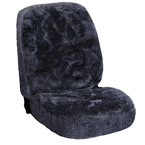 WOLTU AS7334gr Universal Lammfellbezug Auto Sitzbezug 100% Echtlammfell Vollbezug Vordersitzbezug, Feste Wolle, ca, 1,8 cm Dicke, Dunkelgrau