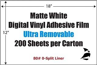 "Spinnaker Coating Matte White Digital Vinyl Adhesive Film, 12"" x 18"", Ultra-Removable, 0-Split, 200 Sheets"