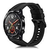FINTIE Cinturino Compatibile con Huawei Watch GT/Watch GT 2 46mm/GT Active/Watch 2 PRO/Honor Watch Magic Smartwatch, 22mm Cinturino in Silicone Morbido di Ricambio, Nero