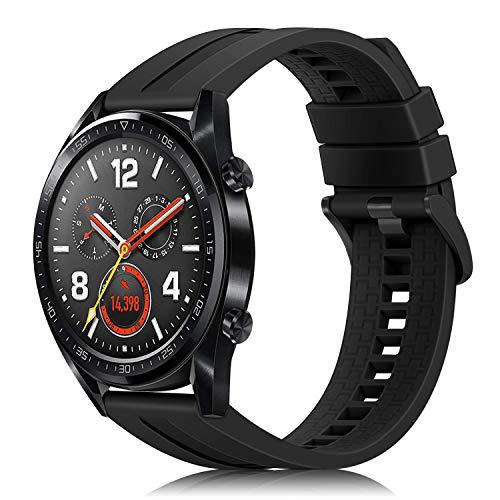 FINTIE Correa Compatible con Huawei Watch GT 2/Huawei Watch GT 46mm Sport/Classic/Active/Elite - Pulsera de Repuesto de Silicona Suave Banda Deportiva, Negro