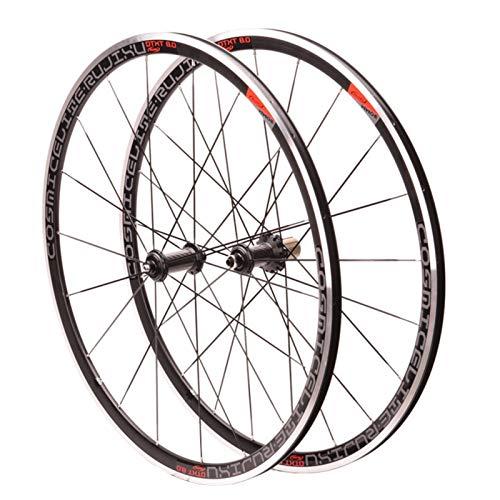 Ruedas de Bicicleta,Primeros 2 Últimos 4 Rodamientos Altura de La Llanta 30MM Aleación de Aluminio Freno V/C Bicicleta de Carretera Ruedas 700C Deportes (Color : Black)