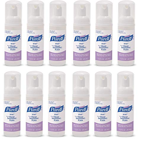 Purell SF607 Hand Sanitizer Foam, Alcohol Free Formulation, 45 mL Portable, Travel Sized Pump Bottle (Pack of 3) – 5684-08-EC (Pack of 12)