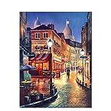 Kit de pintura diy vista nocturna paisaje pintado a mano pintura al óleo decoración del hogar regalo único 50x65cm