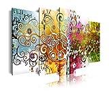 DekoArte 526 - Cuadros Modernos Impresión de Imagen Artística Digitalizada | Lienzo Decorativo Para Tu Salón o Dormitorio | Estilo Abstractos Arte Árbol de la Vida de Gustav Klimt | 5 Piezas 150x80cm