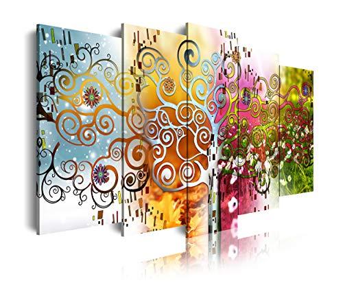DekoArte 526 - Cuadros Modernos Impresión de Imagen Artística Digitalizada   Lienzo Decorativo Para Tu Salón o Dormitorio   Estilo Abstractos Arte Árbol de la Vida de Gustav Klimt   5 Piezas 150x80cm