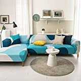 PPOS Funda de sofá Moderna con Todo Incluido Spandex Stretch Poliéster Flor Funda de sofá Silla Sala de Estar Sofá de Esquina Cove D10 Loveseat 145-185cm-1pc