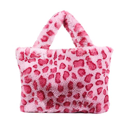 Frauen Plüsch-Pelz-Kupplungs-Handtaschen-Leopard-Druck-Schulter-Beutel Metallkette Umhängetasche Handtasche (Rose Red)