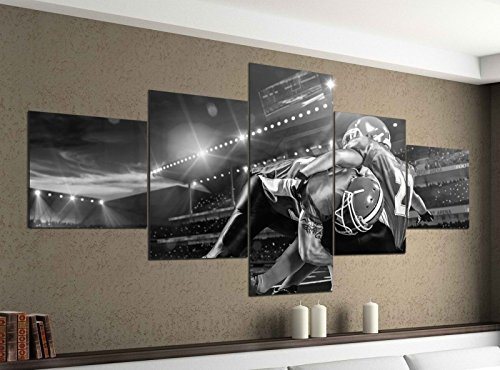 Leinwandbild 5 tlg. 200cmx100cm Tackling im Football Animation schwarz weiß Bilder Druck auf Leinwand Bild Kunstdruck mehrteilig Holz 9YA2329, 5Tlg 200x100cm:5Tlg 200x100cm