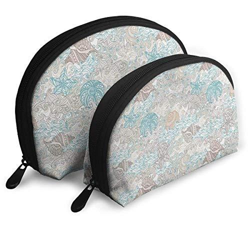 syplog - Bolsas portátiles con diseño de estrellas de mar y molusco, color pastel