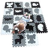 MQIAOHAM niños Suaves Espuma Rompecabezas Infantil gateando bebé tapetes Juego Gimnasio área Alfombra Piso para niños no tóxico Actividad Azulejos Seguridad Blanco Negro Gris G301018-P058HBH