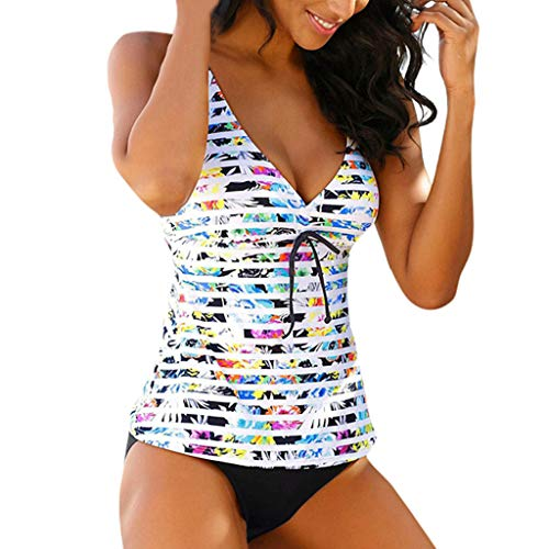 PinkLu Bademode Damen Regenbogen Tankini Bowtie Bikini Set Streifen Bunt Split Badeanzug Sling Badeanzug Tops und Bademode Zweiteiler