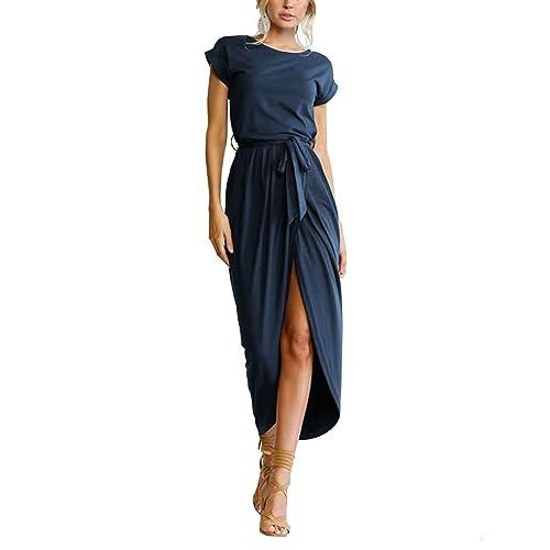 6aa04155d2b ISASSY Women s Summer Boho Belted Long Maxi Dress Short Sleeve Beach Sun  Dress Wear Evening Party
