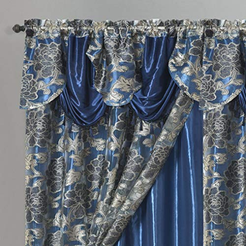 Royal ROSARIUM. Clipped Voile. Voile Jacquard Window Curtain with Attached Fancy Valance and Taffeta Backing. 2pcs Set. Each pc 54 inch Wide x 84 inch Drop + 18 inch Valance. (Nightsky Blue)