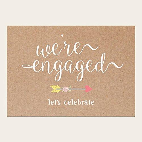 Verlovingsfeest uitnodigingen - rustieke harten en pijlen - pak van 10