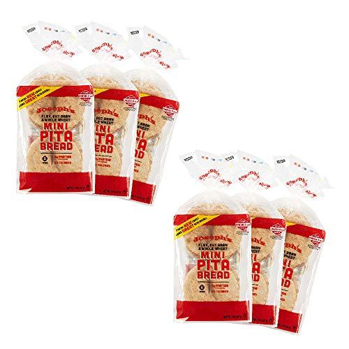 Joseph's Low Carb MINI Pita Bread 6-Pack, Flax, Oat Bran and Whole Wheat, 5g Carbs Per Serving (8 Per Pack, 48 MINI Pita Breads Total)
