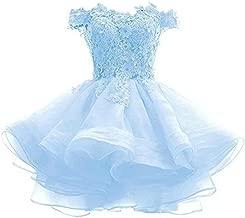 LeoGirl Women's Off Shoulder Floral Appliques Short Prom Dress Juniors Homecoming