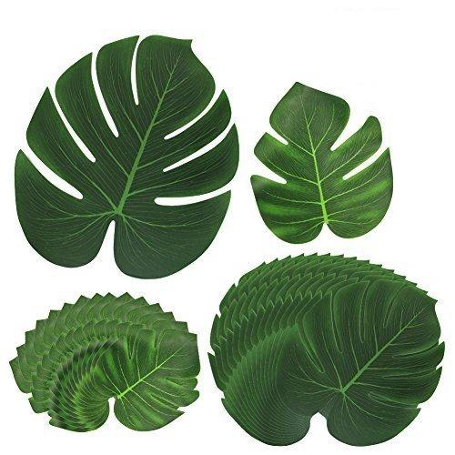 30Piezas Hoja verde planta HTINAC, Suave Hojas Tropicales Decoración de la Tienda de la Fiesta en Casa de Monstera para Playa Fiesta Temática Fiesta de Hawaii