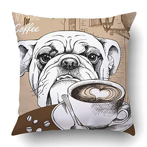 GFGKKGJFD313 Funda de almohada para decoración del hogar con diseño de café y perro sobre fondo de paisaje europeo beige 45 cm x 45 cm Dog Art