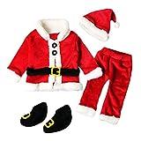 Longra 4PCS Noël Vêtements Bébé Noël Costume Enfant Noël Bebe Tops Manteau +Pantalons+Chapeau Bonnet du Père Noël+Chaussettes Cadeaux de Noël pour Enfant Noël Habit Enfant (12M, Rouge)