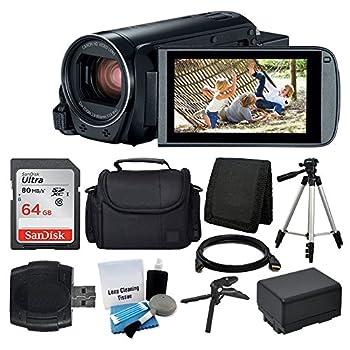 Canon VIXIA HF R800 Camcorder  Black  + SanDisk 64GB Memory Card + Digital Camera/Video Case + Extra Battery BP-727 + Quality Tripod + Card Reader + Tabletop Tripod/Handgrip - Deluxe Accessory Bundle