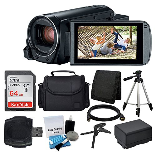 Canon VIXIA HF R800 Camcorder (Black) + SanDisk 64GB Memory Card + Digital Camera/Video Case + Extra...