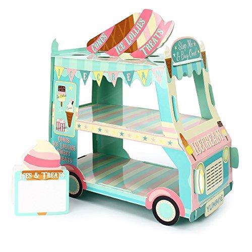 Viene con 12 conos de papel, un cartel y pegatinas; Tamaño de montaje: 35 x 18 x 30 cm. Forma de furgoneta única para exhibir y servir postres, también una buena decoración para tu fiesta. Material de cartón de alta calidad, lo suficientemente fuerte...