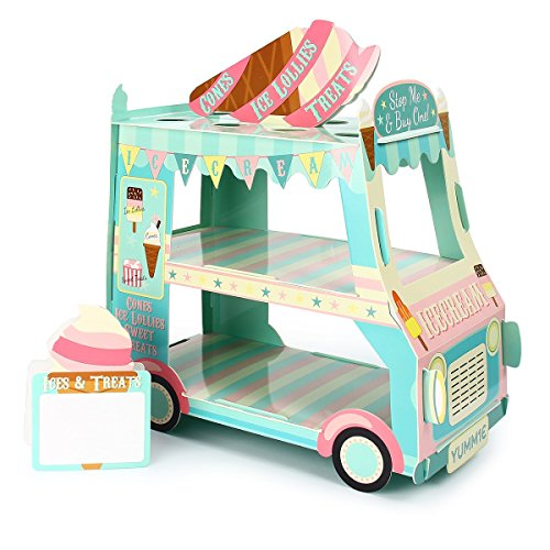 Kitchnexus 3 Tier Cupcake Stand Ice Cream Street Van Cake Stand Holder for Theme Party Decoration