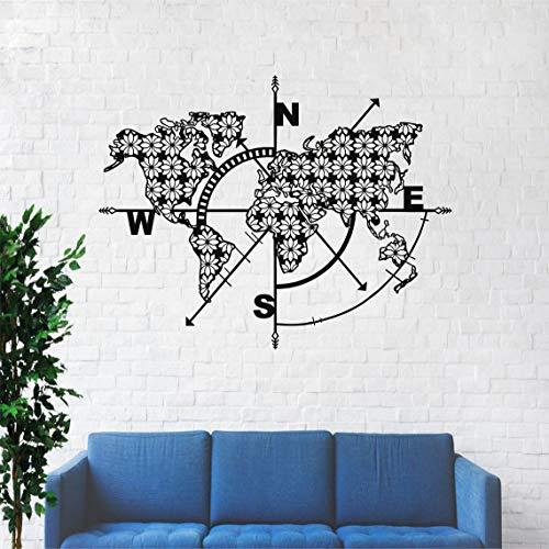Weltkarte aus Metall, Kompass, Wanddekoration, Metallschild, Weltkarte, Wandkunst, Wandkunst aus Metall, Wanddeko (117 x 91 cm)