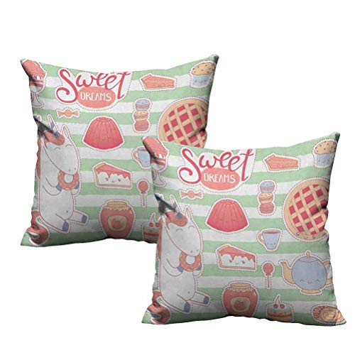 Two Piece Square Throw Pillow Cover Various Desserts in Cartoon Style Funny on Green Stripes Unicorn Eating Donut 12'x12',Standard Size