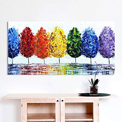 Arte de la pared Lienzo Pintura al óleo Árbol del arco iris Imágenes de la pared para la sala de estar Decoración del hogar Sin marco 28X56 pulgadas