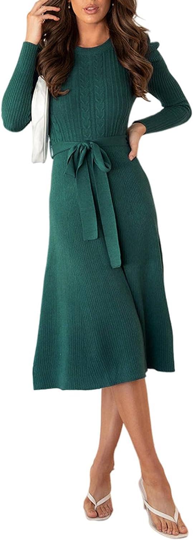 Pink Wind Women's Crewneck Cheap SALE Start Long Sleeve Sweater Max 68% OFF Midi Knit Slim Dr