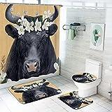 Bfrdollf Kuh-Druck Duschvorhang, Kuh Und Blume, Wasser Blickdicht Inkl.12 Ringe Langhaltig Bakterie Und Schimmel Resistent, Aquarell Bild (3,200 x 240 cm)