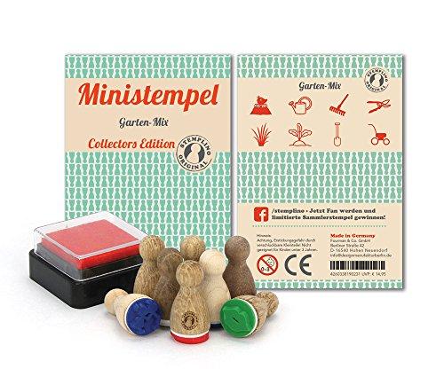 Stemplino Stempelset Garten - 8 Ministempel aus Holz plus Stempelkissen, Mini Stempel Set Mix