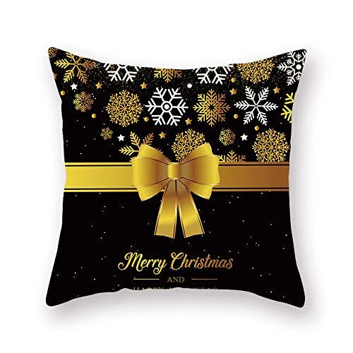 Cojines Navidad Copo de Nieve Dorado Patrón Funda de cojín Sofá Decorativo Decoración para el hogar 45 × 45cm con núcleo de Almohada